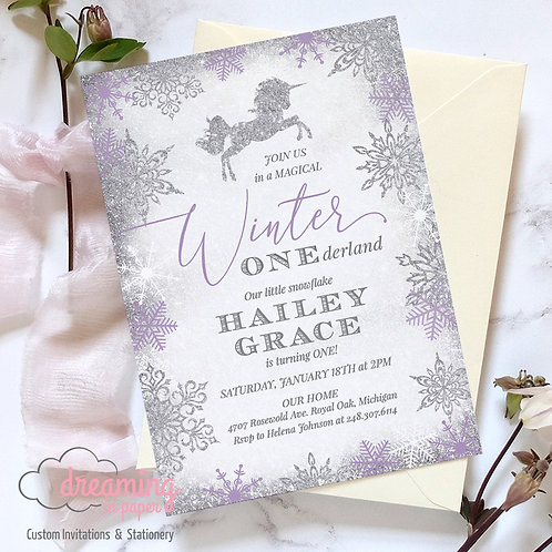Winter ONEderland Wonderland Unicorn Birthday Invitation