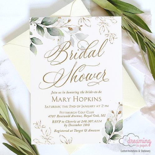 Golden Greenery Lisima Botanical Bridal Shower Invitation 325