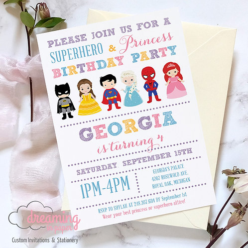 Princess and Superheroes Birthday Invitation