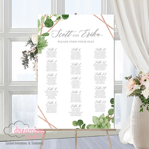 Geometric Rose Gold Greenery Seating Chart