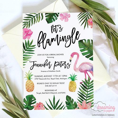 Let's Flamingle Tropical Flamingo Bridal Shower Invitations