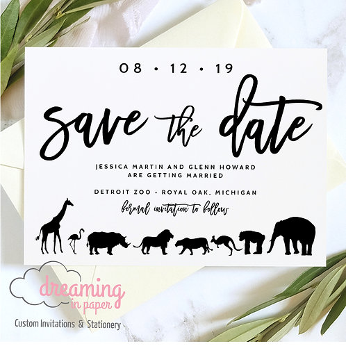 Modern Zoo Animal Save the Dates