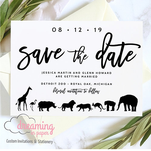 zoo save the dates, save the date, animal save the date, zoo wedding