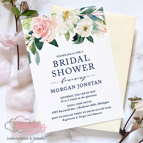 Blush and Navy Ethereal Floral Bridal Shower Invitation