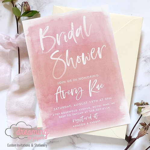 Dusty Pink Watercolor Ombre Bridal Shower Invitations