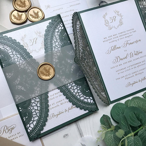 Emerald Green Lasercut Gatefold Wedding Invitations 501-EG