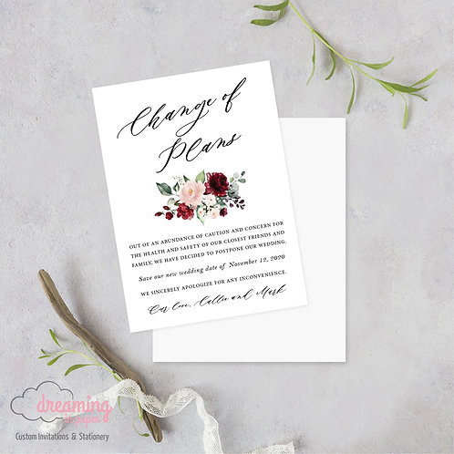 Burgundy Blush Change of Plans Wedding Date Change Postponement Cards