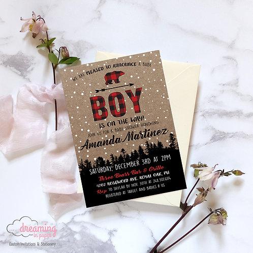 Lumberjack Buffalo Plaid Baby Shower Invite - Gender Neutral!