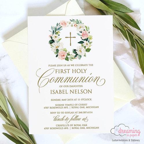 Blush Pink Floral Wreath Baptism Invitation