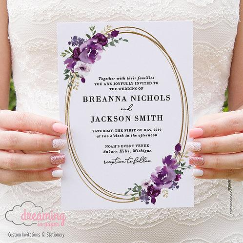 Purple Plum Floral Gold Oval Wedding Invitations