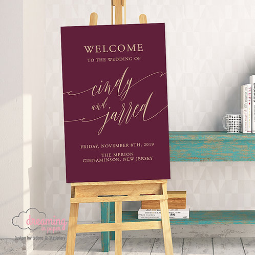 Burgundy and Gold Wedding Welcome Sign 203