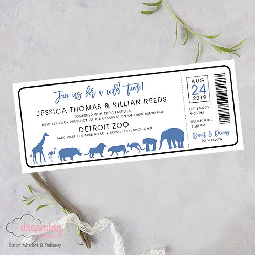 Zoo Ticket, Zoo Wedding Invite, Zoo Invitation, Ticket to the Zoo, Ticket Invitation, Zoo Animals