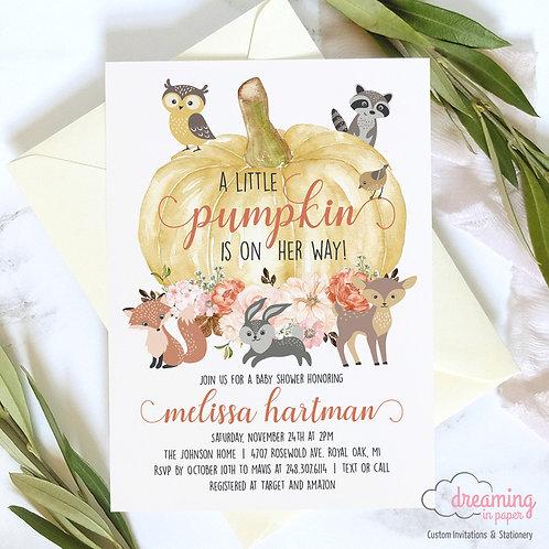 Autumn Pumpkin Woodland Animals Baby Shower Invitation
