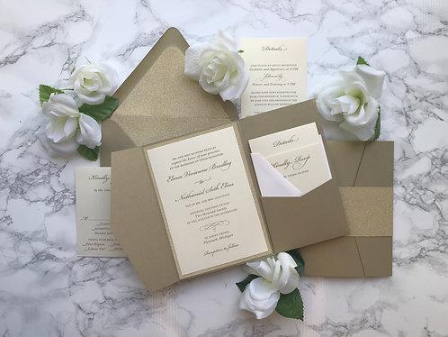 Classic Gold Glitter Pocket Wedding Invitations