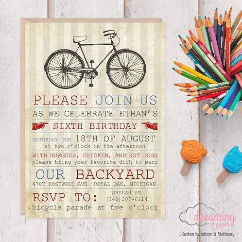 Vintage Bicycle Antique Bike Birthday Invitations