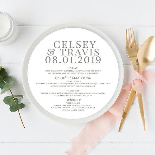 Modern Gray Circle Wedding Menu Card