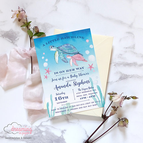 Mama and Baby Turtle / Hatchling Baby Shower Invitation - Gender Neutral!