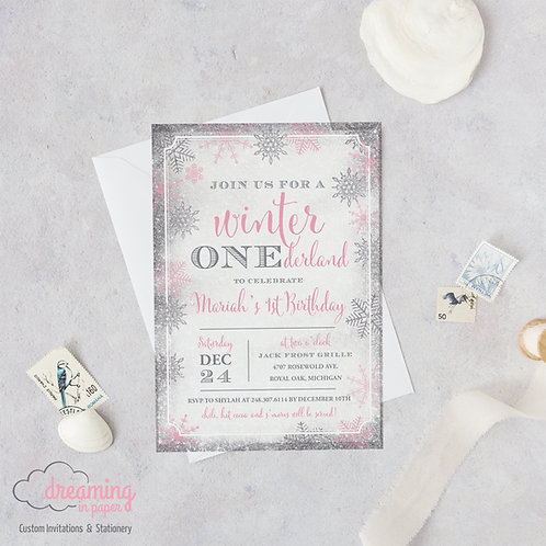Winter ONEderland Pink & Silver Snow Sparkle Birthday Invitations