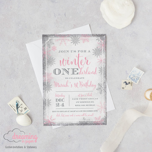 winter onederland pink silver snow sparkle birthday invitations