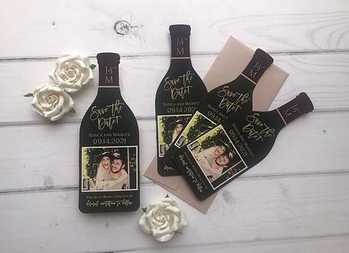 Winery Save the Dates Die Cut Wine Bottle