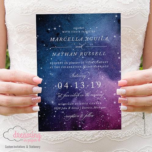 Space Galaxy Planetarium Wedding Invitations