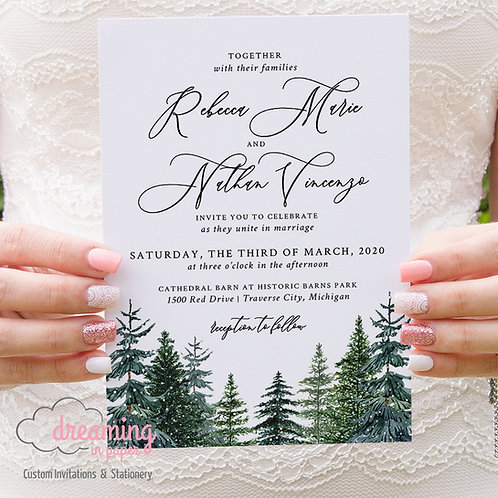 Rustic Forest Trees Winter Wedding Invitations 293