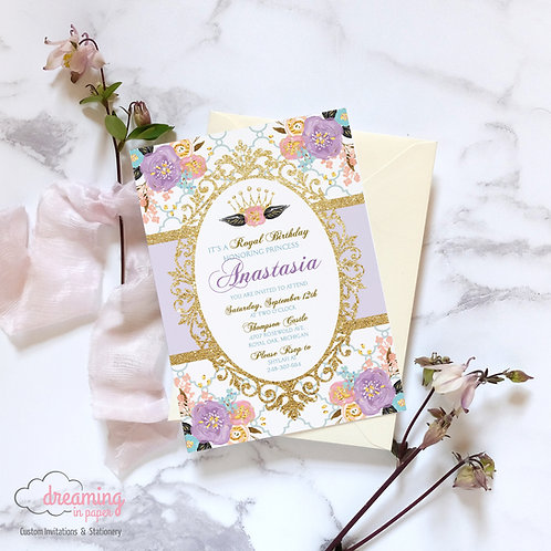 Purple and Gold Princess Birthday Invitation