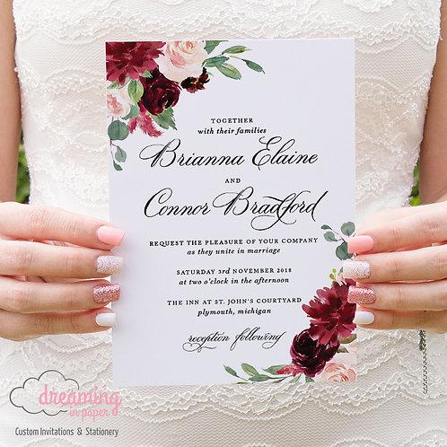 Blush Burgundy Formal Wedding Invitations - Watercolor Floral