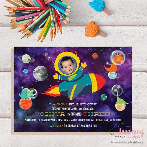 Galaxy Space Dinosaur Astronaut Photo Birthday Invitation