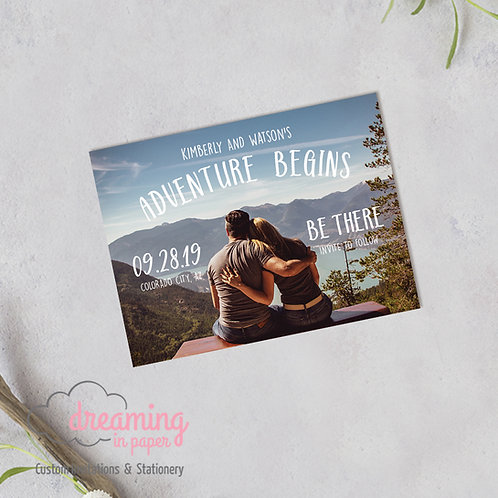 Adventure Begins Rustic Photo Save the Date Magnets