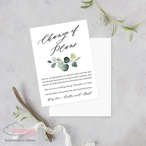 Eucalyptus Change of Plans Wedding Date Change Postponement Cards
