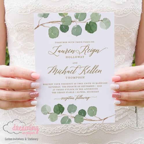 silver dollar eucalyptus greenery wedding invitation