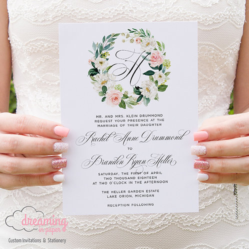 Blush Floral Wedding Invitation with Monogram