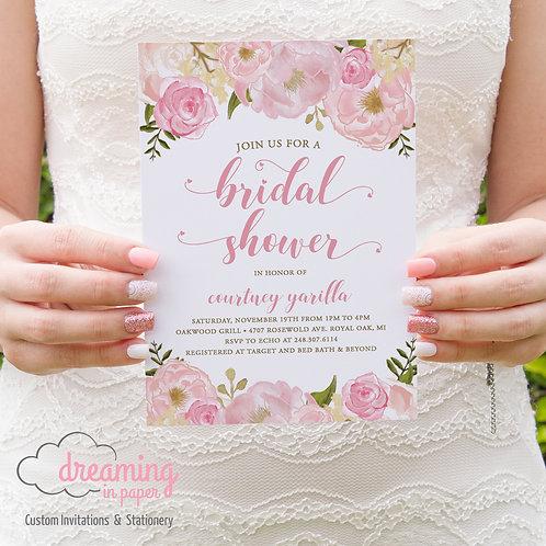 Pink Peony Floral Bridal Shower Invitation