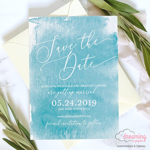 Turquoise Watercolor Beachy Save the Dates