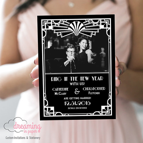 Gatsby Art Deco Roaring 20's Photo Save the Dates