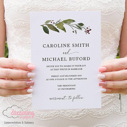 Holiday Holly Christmas Formal Wedding Invitations 161