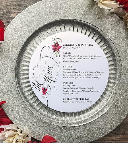 Christmas Holiday Circle Wedding Menu Card