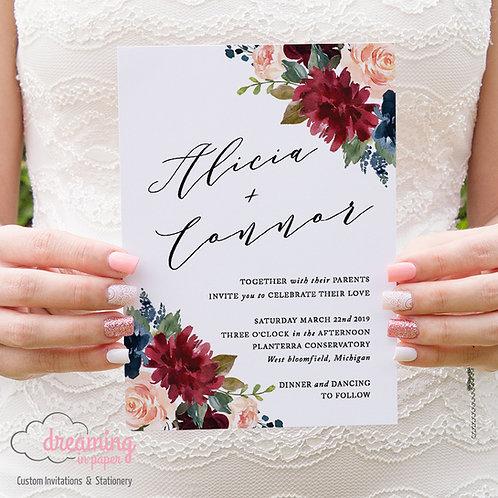 Burgundy Navy Blush Ella Poetic Wedding Invitation 223