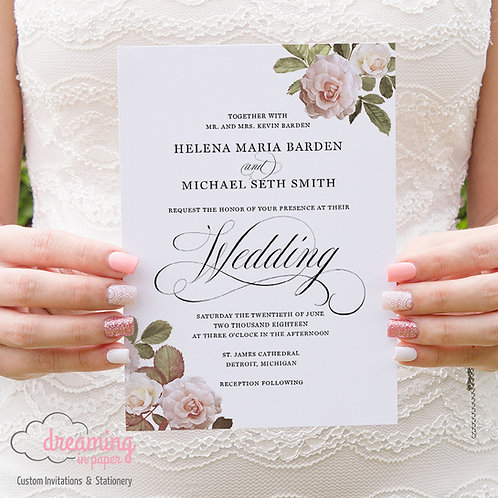Classic Mozart and Roses Wedding Invitation