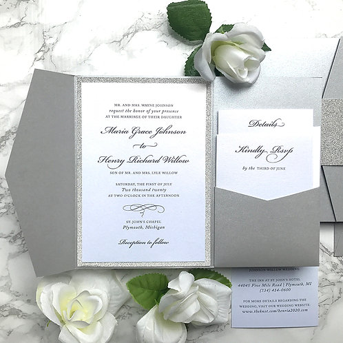 Classic Silver Glitter Pocket Wedding Invitations