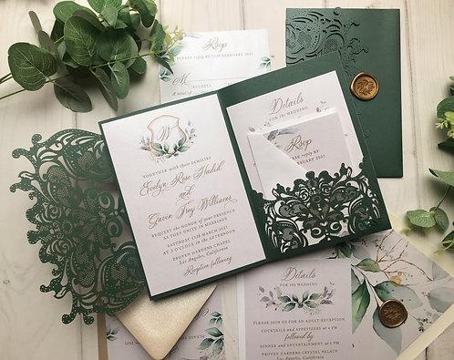 Emerald Green Shimmer Lasercut Pocket Wedding Invitations Greenery 417