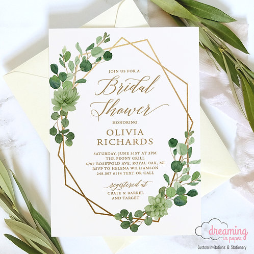 Geometric Wild Greenery Eucalyptus Bridal Shower Invitations
