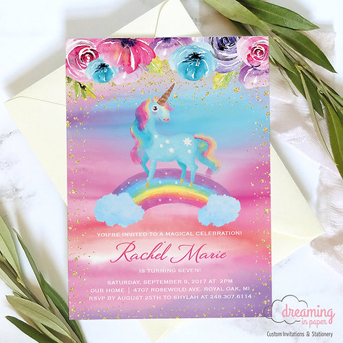 Super Rainbow Magical Unicorn Birthday Invitation