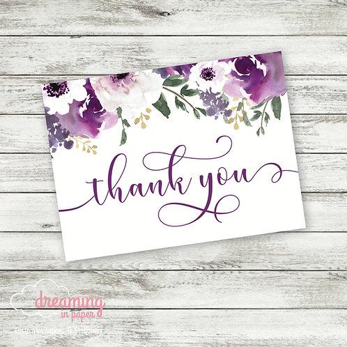 Purple Garden Thank You Cards