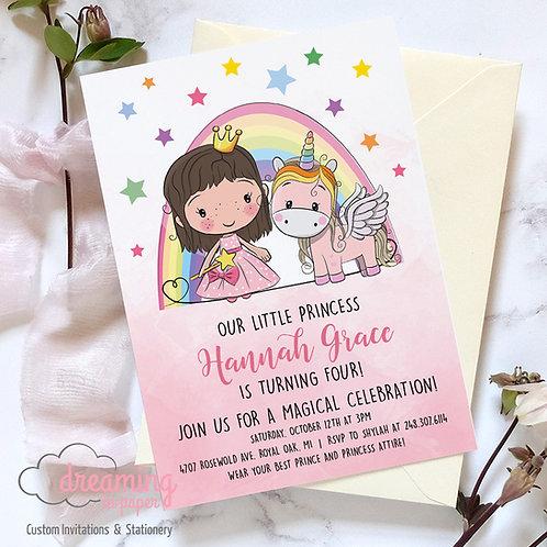 Princess and Unicorn Birthday Invitation