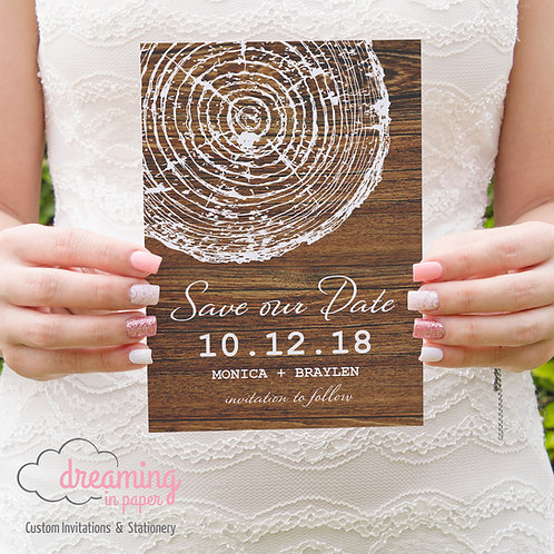 Rustic Tree Circle Stamp Wood Nature Save the Dates
