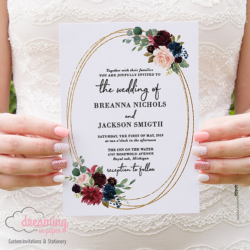 Burgundy and Navy with Gold Glittering Ovals Wedding Invitations
