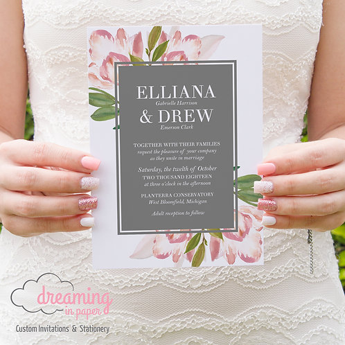 Adorable Tulip Floral and Gray Modern Wedding Invitation Set