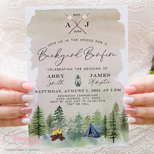 outdoor wedding, camping wedding, campfire wedding, rustic wedding, bonfire wedding, bonfire invite